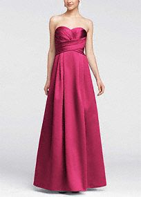 Elegant and timeless, thissatin number will look fabulous on your bridesmaids!  Strapless dress features stunning and ultra-flattering pleated bodice.  Full long skirt with pockets adds drama and helps create a sleek silhouette.  Extra length available in stores.  Fully lined. Back zip. Imported polyester. Dry clean.