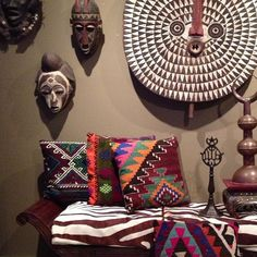 #african masks #turkish pillows #vignette - apartmentf15 photo