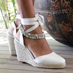 Bridal espadrille wedge ivory and satin designer bridal shoe wedding shoes ribbon beach wedding boho: gypsy queen wedge Wedding Wedges, Beach Wedding Shoes, Wedge Wedding Shoes, Wedge Shoes, Beach Weddings, Wedge Sandals, Bridal Shoes Wedges, Outdoor Wedding Shoes, Beach Shoes