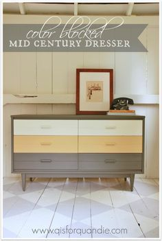 Fantastic old dresser restyling.  I would love to try this with CeCe Caldwell's in Vintage White, Johnston Daffodil and Pittsburgh Gray for a look alike version by vintagebette.com
