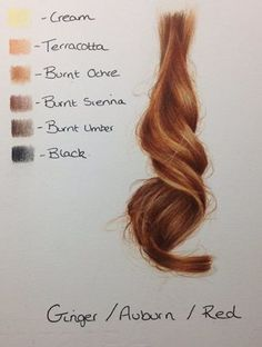 Auburn/red/ginger hair - colored with pencils