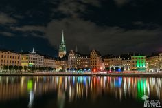Gamla Stan by night New York Skyline, Cathedral, Night, Building, Travel, Viajes, Buildings, Cathedrals, Destinations