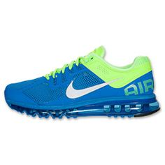 Men's Nike Air Max+ 2013 Running Shoes| FinishLine.com | Prize Blue/Reflective Silver/Lime