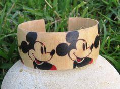 Mickey Mouse Pattern Warhol  wood adjustable bracelet by HutchMade, $20.00