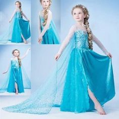 &Hot New Frozen Elsa Anna Princess Costume Girls Halloween Costumes  Cosplay&