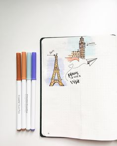 Bullet journal Places I'd Like to Visit page, bullet journal travel wish list. | @tnie_doodles