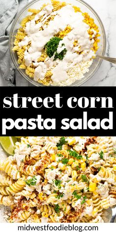 This Mexican Street Corn Pasta Salad is loaded with corn, cotija, and a deliciously tangy dressing. It's quick, easy and uses mostly pantry ingredients! Mexican Food Recipes, Vegetarian Recipes, Cooking Recipes, Healthy Recipes, Recipes With Corn, Yummy Recipes, Enchiladas, Appetizer Recipes, Dinner Recipes