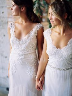 Wedding Sparrow featuring our Briana and Delaney gowns Photographer: Katie Grant   Film Lab: Photovision   Styling & Florals: Katie Grant   Dresses: The Dress Theory   Bride's Gown: Johanna Johnson   Bridesmaid's Dresses: Sarah Janks   Calligraphy and Invitation Suite: Jenny Sanders, Graceline Calligraphy   Nightgown's: Free People   Make Up: Katy Sullivan, Beauty By Katy   Hair: Savannah Turrietta   Venue: Luce Loft   Ribbon: Silk and Willow   Veils: Erica Koesler