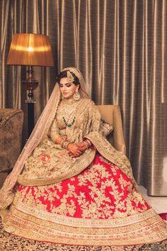Looking for Muslim bridal look in red and gold lehenga? Browse of latest bridal photos, lehenga & jewelry designs, decor ideas, etc. on WedMeGood Gallery. Indian Bridal Outfits, Indian Bridal Lehenga, Indian Bridal Fashion, Pakistani Bridal Dresses, Indian Bridal Wear, Indian Designer Outfits, Wedding Outfits, Pakistani Bride Hairstyle, Wedding Dresses