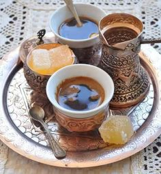 Turkish Coffee is a method of brewing coffee. Roasted and then finely ground coffee beans are boiled in a pot usually with sugar, and served in a cup where the grounds are allowed to settle.