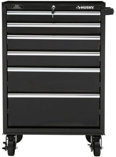 27 In. 6 Drawer Rolling Tool Cabinet, Black with wheals #RollingToolCabinet