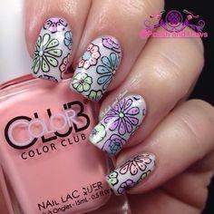 Reverse stamping pastel neon nails #nailart #nails #nailpolish