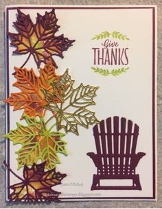 Give Thanks Card card. Halloween Cards, Fall Halloween, Halloween Ideas, Fall Cards, Holiday Cards, Happpy Birthday, Leaf Cards, Thanks Card, Stamping Up Cards