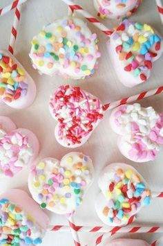 Marshmallow pops with Sprinkles on paper straws!  Cute! From Such Pretty Things #valentine #heart