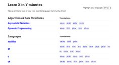 Learn X in Y Minutes: Lightning-fast walkthroughs of programming languages