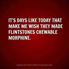 It's on days like today that make me wish they made Flintstones chewable morphine.