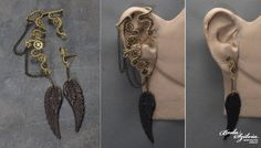 Winged Steampunk ear wrap with post earring::Bodaszilvia's ear wraps are intricate wirework that cover so much ear you don't even need piercings, this one just happens to have a post for the other ear