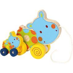 """Jucăria din lemn """"Familia hipopotam"""" este o jucărie colorată și distractivă pentru micuți! Bebelușii hipopotami își miscă capul în timp ce jucaria este în mișcare. #woodentoys #babytoys #jucariibebelusi #jucariidinlemn #jucariionline Toddler Toys, Baby Toys, Kids Toys, Pull Along Toys, Kids Board, Pull Toy, Baby Games, More Fun, Smurfs"""