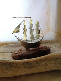 Greek sailing ship sculpture, recycled, upcycled tin can driftwood art, sailboat, nautical decor, Lesvos Greece