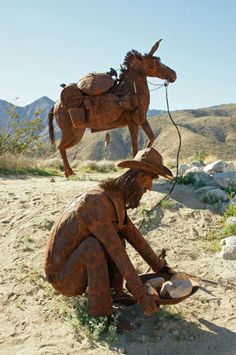 Horse and gold miner metal art sculpture by Ricardo Breceda. One of many sculptures in Galleta Meadows, Borrego Springs, CA. Photo from the RVGoddess travelog.