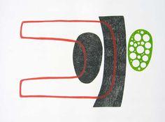Titel: Amoebex. 3 kleuren houtdruk, oplage 4. Formaat: 56 x 76 cm, 2009.