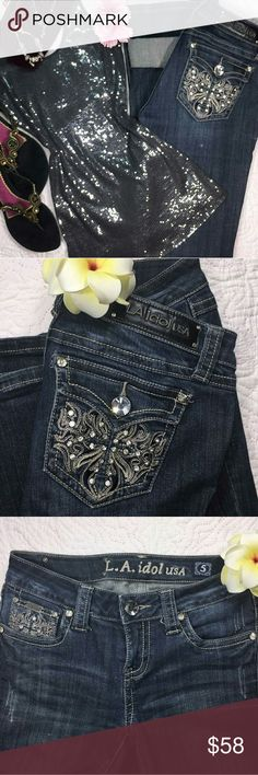 Jeans size by LA Idol (5) Excellent condition worn once gorgeous bling dark denim  -Size 5 -only worn one time LA Idol Jeans
