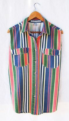SLEEVELESS DENIM SHIRT Vintage 1980s Blouse Multicolored Stripe Shirt Vertical Stripe Button Up Shirt Oxford Collared Tank Top Womens on Etsy, $32.00