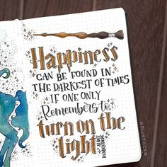 harry potter bullet journal quote- harry potter bullet journal quote albus dumbledore: happiness can be found in the darkest of times if one only remembers to turn on the light. Bullet Journal Tumblr, Bullet Journal Notebook, Bullet Journal School, Bullet Journal Inspiration, Journal Pages, Journal Ideas, Bullet Journal Netflix, Bullet Journal Title Page, Sketch Journal