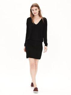 Black Knit Vee Dress | Banana Republic