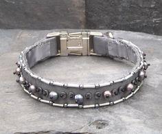 Grey Silk Luxury Dog Collar Handmade & Beaded with Silver, Hematite, and Freshwater Pearls 69 Luxury Dog Collars, Grey Dog, Handmade Beads, Beading, Glass Beads, Black White, Silk, Steel, Pearls