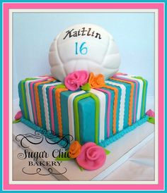 Volleyball - 8 inch butter cream with fondant volleyball. Volleyball – 8 inch butter cream with fondant volleyball. Volleyball Birthday Cakes, Birthday Cakes For Teens, Cake Birthday, Birthday Ideas, Volleyball Party, 14th Birthday, Beautiful Cakes, Amazing Cakes, Teen Cakes