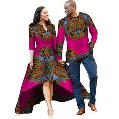 African Traditional Dresses Time-limited Women 2018 Cotton Batik Print Dress (men+women) Clothing New African Couples African Men Fashion, African Dresses For Women, African Fashion Dresses, Ankara Fashion, African Traditional Dresses, Traditional Outfits, Dashiki Dress, Couple Outfits, Couple Clothes