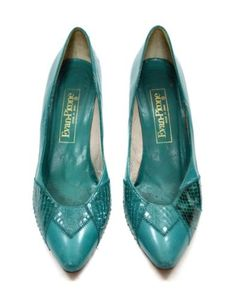 Vintage-80s-Evan-Picone-Aqua-Made-in-Spain-High-Heels-Pumps-Evening-Shoes