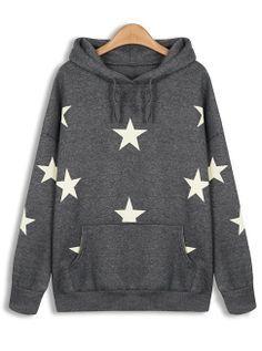 Grey Hooded Long Sleeve Stars Print Sweatshirt EUR€24.14