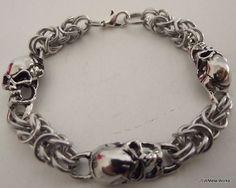 Skull Byzantine Bracelet Aluminum Chainmail by JSWMetalWorks