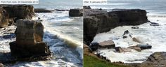 """In Portland, Dorset, a rock stack off the coast, known locally as Pom Pom rock, has been washed away. Local historian Stuart Morris, who photographed the rock before and after its collapse, said: """"You are talking about a natural stack that was hundreds of tonnes, totally demolished and broken to pieces by the storm."""" January 2014"""