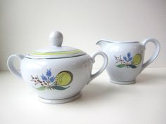 Vintage Arabia of Finland Windflower Cream and Covered Sugar Set by HerVintageCrush on Etsy