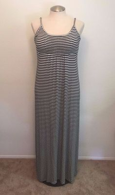 Calvin Klein Womens Size 14 Blue and White Striped Summer Sleeveless Maxi Dress #CalvinKlein #Maxi #Casual