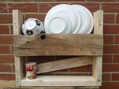 Wooden plate mug rack made from reclaimed pallet by GoodsForHome, £20.00