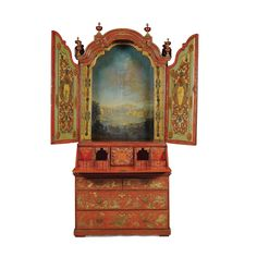 c1730 A red and gilt lacquered chinoiserie bureau cabinet, possibly Southern Italian or Iberian circa 1730  10,000 — 15,000 GBP 14,900 - 22,350USD LOT SOLD. 34,850 GBP (51,927 USD) (Hammer Price with Buyer's Premium)