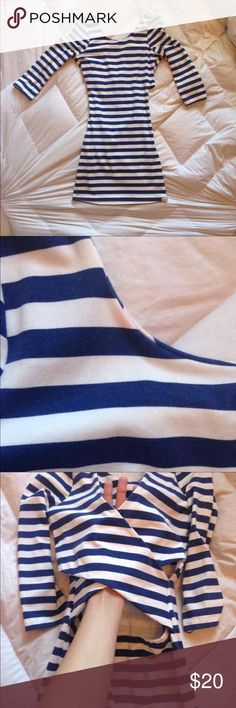 Billabong Tight Dress Tight, blue and white stripes cutout dress. Super soft and the back is very cute. Only issue is a small stain at the collar. Easily could be removed! Originally $70 dollars! Billabong Dresses Mini