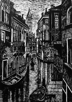 Venice At Night Mixed Media