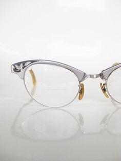 55810a3b1b8b Vintage CAT EYE Art Craft Eyeglasses Glasses Optical Frames Womens Ladies  Mad Men 1950s BLACK Silver