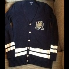 VINTAGE RALPH LAUREN LETTERMAN CARDIGAN SWEATER Vintage RALPH LAUREN sz XL cardigan VARSITY LETTERMAN sweater.  Gorgeous navy blue with white stripe accents and R AthLT Club patch.  100% Cotton.  EXCELLENT CONDITION!  I'm a woman's sz 10 and this is fitted on me. Please go by that measurement.  Really cool!  Will ship right away.  CHECK OUT MY OTHER DESIGNER ITEMS Ralph Lauren Sweaters Cardigans