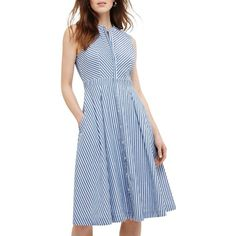 Phase Eight Ajee Stripe Dress (7.065 RUB) ❤ liked on Polyvore featuring dresses, maxi dresses, knee length cocktail dresses, blue maxi dress, stripe maxi dress and midi dress