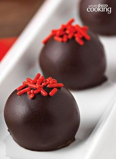 Go ahead, you can brag about these red-carpet-worthy Red Velvet Cookie Balls. Guests give 'em a standing ovation. Tap or click photo for this easy #recipe.