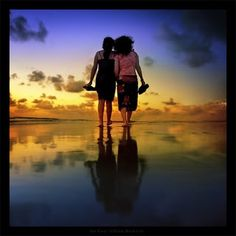 There's nothing like going for a walk on the beach at sunset with your best friend. <3
