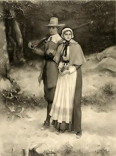 Pilgrim Couple~~~click to make picture larger,if you wish, then save to 'my pictures' or where ever you save items to print out later. Print and display as desired for Thanksgiving.