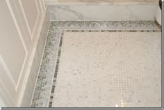 The guest bathroom was luxurious with a Kallista vanity, Lefroy Brooks rainhead shower, an antique mirror, and marble floors and shower. Mosaic Bathroom, Bathroom Floor Tiles, Tile Floor, Master Bathroom, Family Bathroom, Modern Bathroom, Rainhead Shower, Bathroom Renovations, Bathroom Ideas