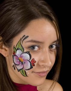cheek face painting flower